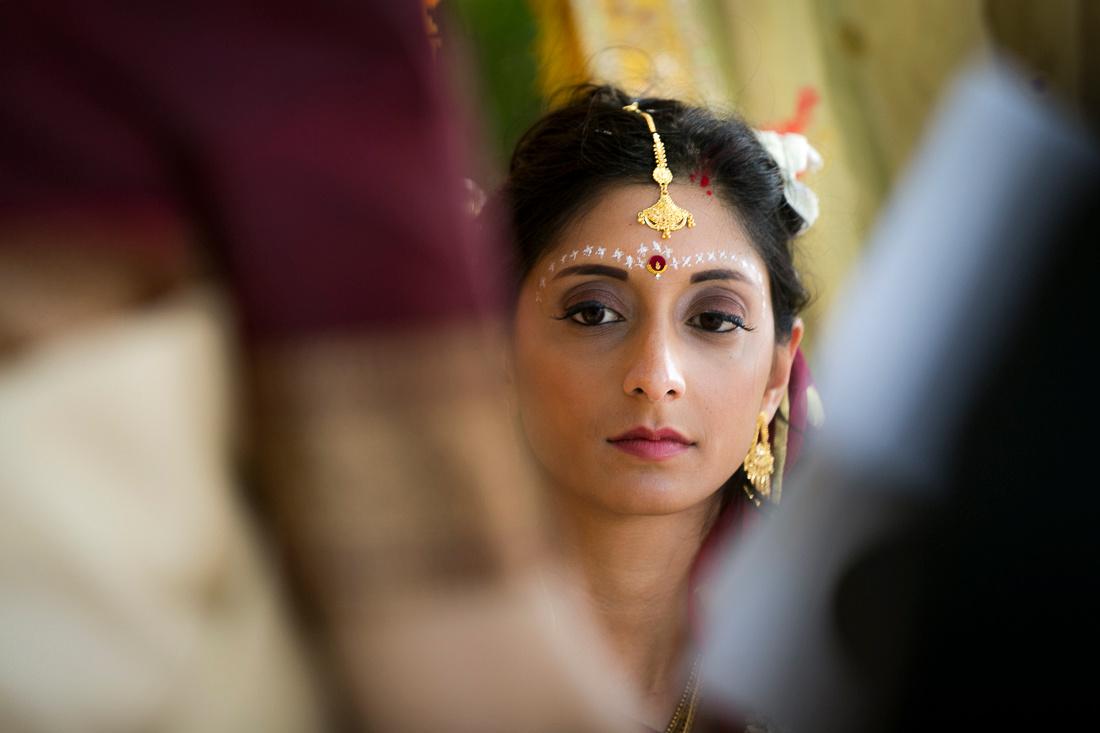 Bride and groom during Hindu wedding ceremony at Linden Place, Bristol. Rhode Island.