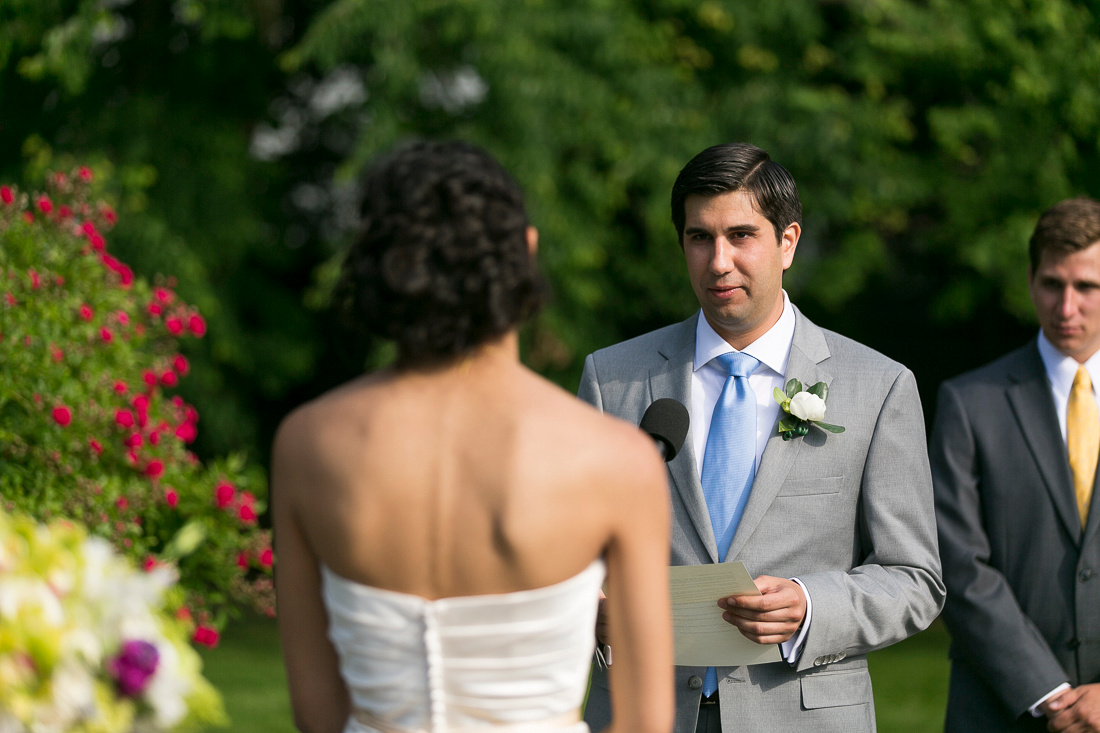 Wedding ceremony at Linden Place, Bristol. Rhode Island.