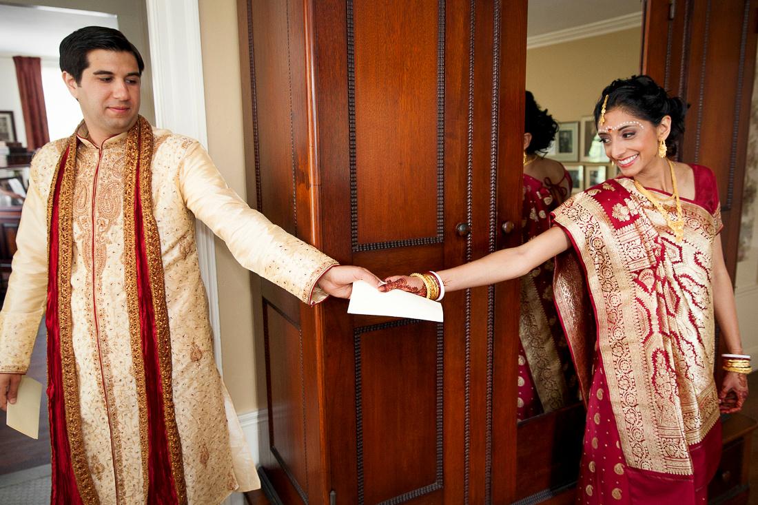 Bride getting ready for hindu wedding ceremony at Linden Place, Bristol. Rhode Island.